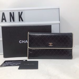 Chanel Small CC quilted black trifold Long wallet